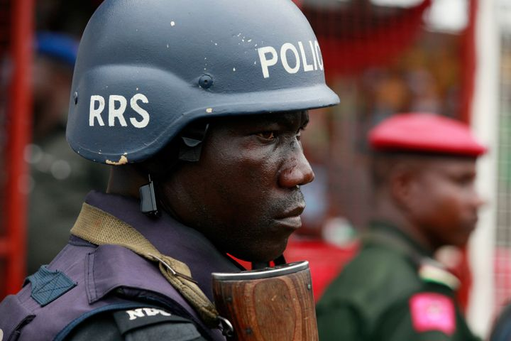 A police officer stands guard in Lagos, Nigeria, on May 1, 2014.