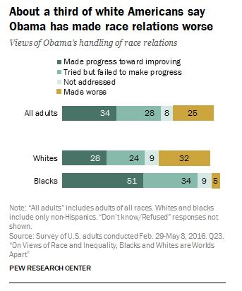 The chart above shows black and white America's views on Obama's handling of race relations.