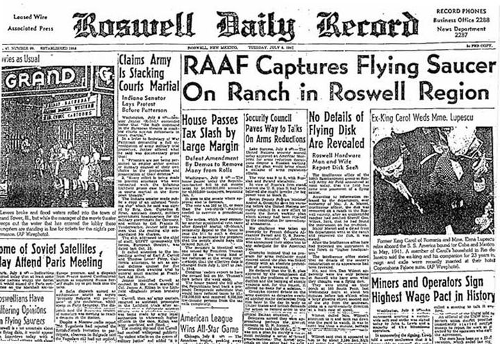 This is the front page from the July 8, 1947 edition of the Roswell Daily Record which showed a startling headline about the