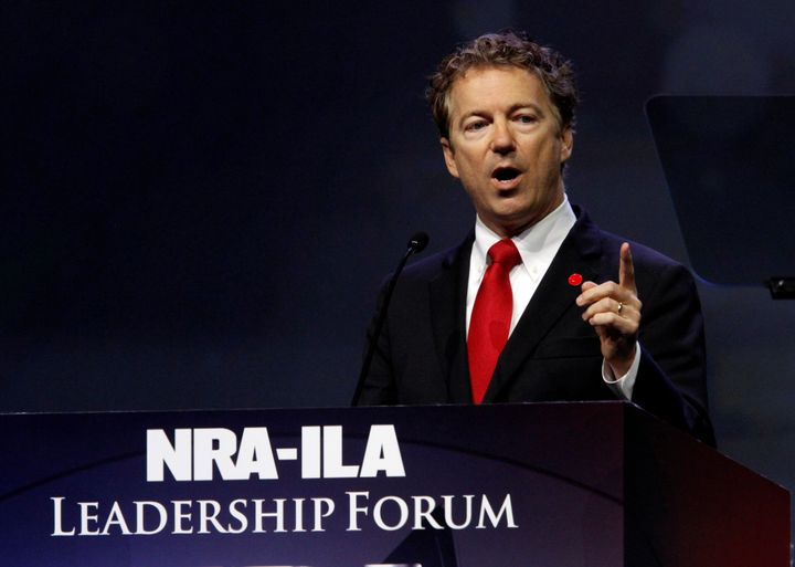 Gray is running against U.S. Senator Rand Paul, seen here addressing the National Rifle Association during its&nbsp