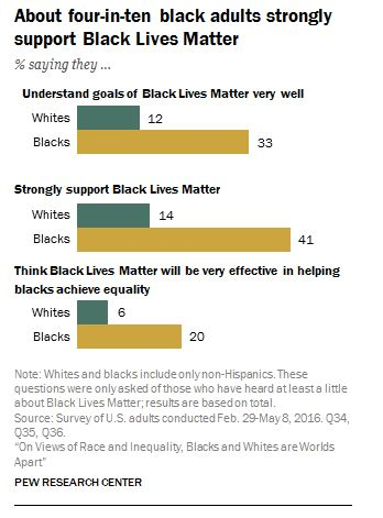The chart above shows how white and black people feel about the Black Lives Matter movement.