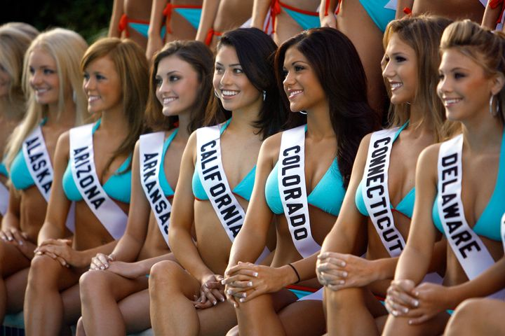 Miss Teen USA 2007 contestants pose in swimsuits in Pasadena, California. The pageant announced Tuesday that it would ha