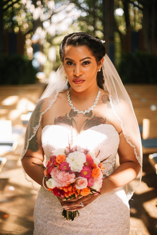 23 beautiful tattooed brides who wouldn 39 t dream of for Covering tattoos for wedding