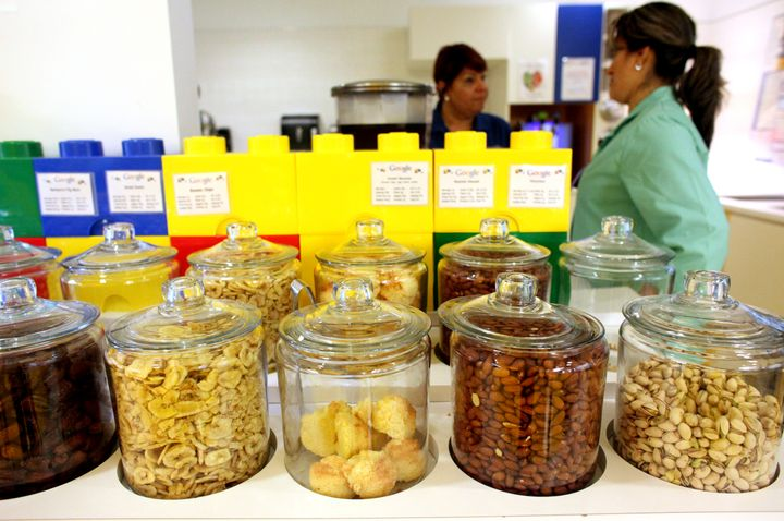 NEW YORK, NY - AUGUST 22: Healthy snack jars, in the 4th floor cafeteria at Google's headquarters in Manhattan, NY, on August