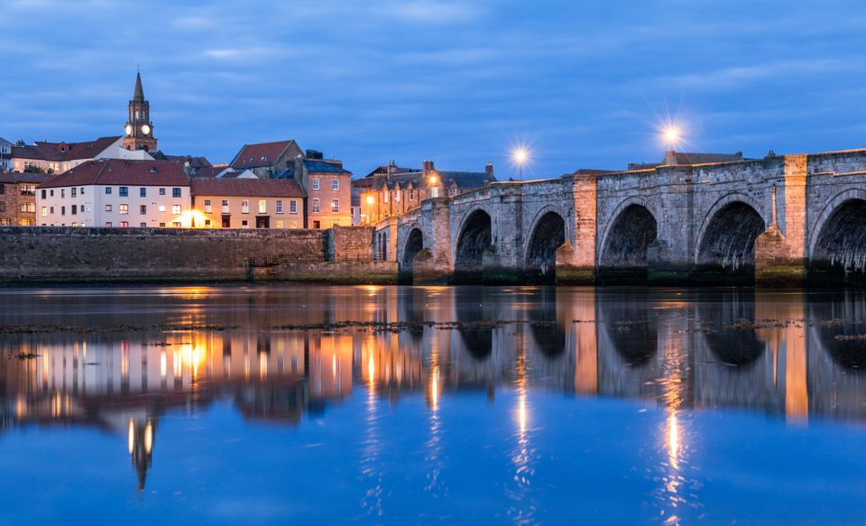 The Old Bridge, also known as Berwick Bridge, in Northumberland, England