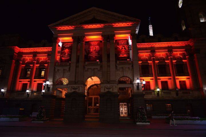 Municipality of Melbourne building lit up in the colors of the Turkish national flag.