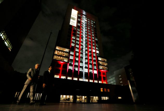 The colors of the Turkish flag are projected on Mexico's Foreign Affairs building in Mexico