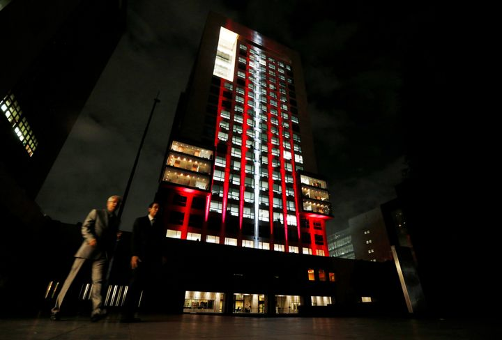 The colors of the Turkish flag are projected on Mexico's Foreign Affairs building in Mexico City.