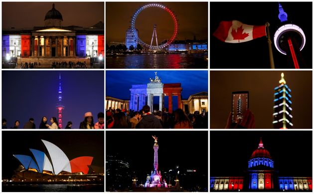 A combination photo shows the blue, white and red colours of the French national flag lit up in buildings...