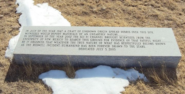 Commemorative plaque created by the Sci Fi Channel sits on the site of the 1947 Roswell, New Mexico, UFO crash.