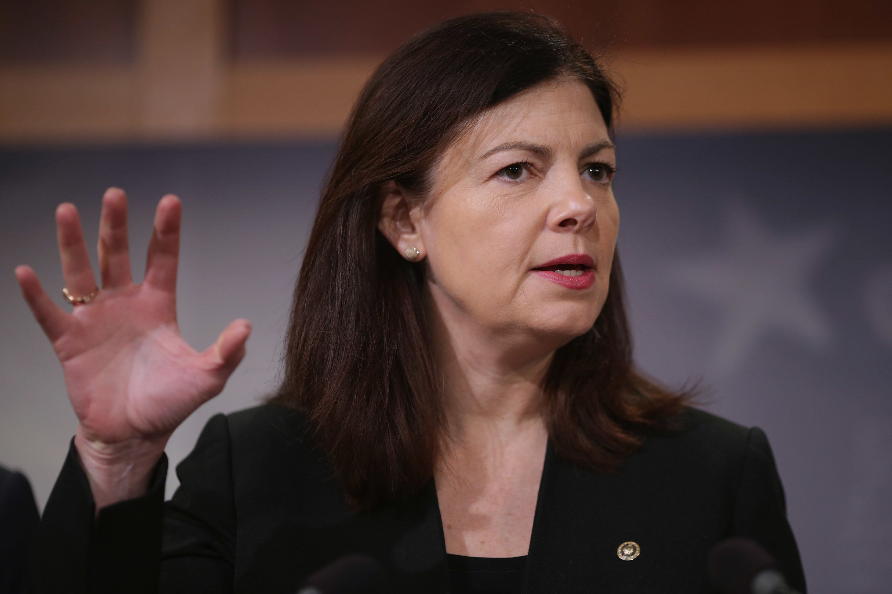 WASHINGTON, DC - FEBRUARY 24:  Senate Armed Services Committee member Sen. Kelly Ayotte (R-NH) speaks at a news conference at the U.S. Capitol February 24, 2016 in Washington, DC. The Republican Senators held the conference to speak about President Obama's plan to close the military prison at Guantanamo Bay, Cuba. They called the president's plan 'jibberish,' and said they have tried working with Obama to close the detention camp and move the terrorism suspects held there to federal prisons in the United States but this latest proposal is not the way forward. (Photo by Chip Somodevilla/Getty Images)