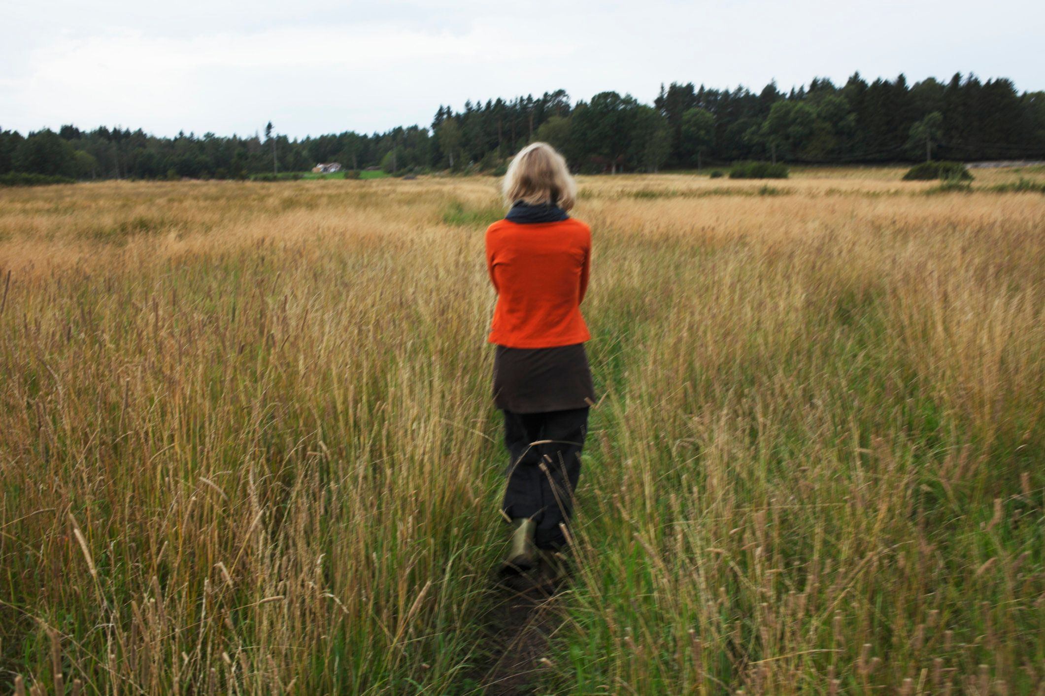 Woman walking through a countryside meadow, Stockholm, Sweden