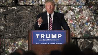 Donald Trump, presumptive Republican presidential nominee, speaks during a campaign event in Monessen, Pennsylvania, U.S., on Tuesday, June 28, 2016. President Barack Obama said Trump is a lifetime member of the 'global elite' who is trying to stir up in the U.S. the kind of anti-immigrant sentiment that drove Britain to vote itself out of the European Union. Photographer: Ty Wright/Bloomberg via Getty Images