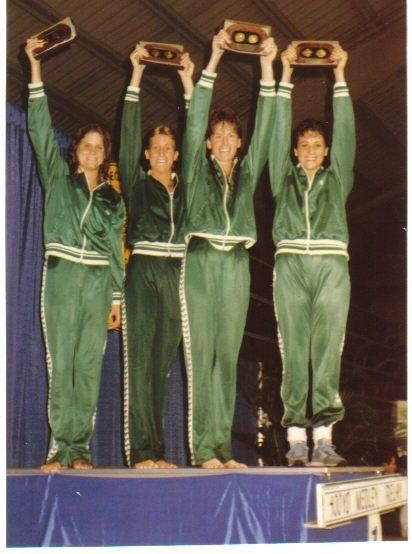 USF Women's Swimming National Champions 1985. Nancy Bercaw third from left.