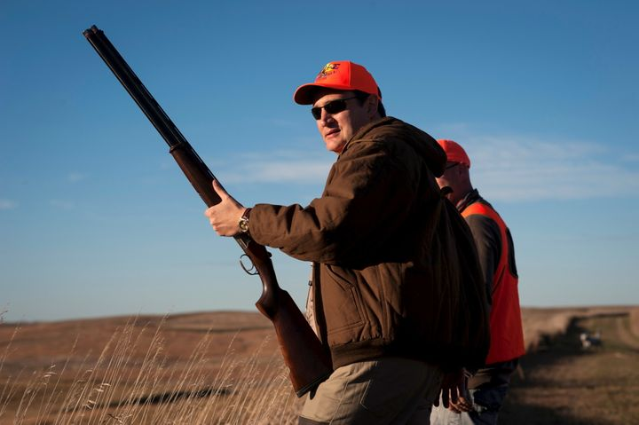 Sen. Ted Cruz pauses before heading further down field during the Col. Bud Day Pheasant Hunt hosted by Rep. Steve King o