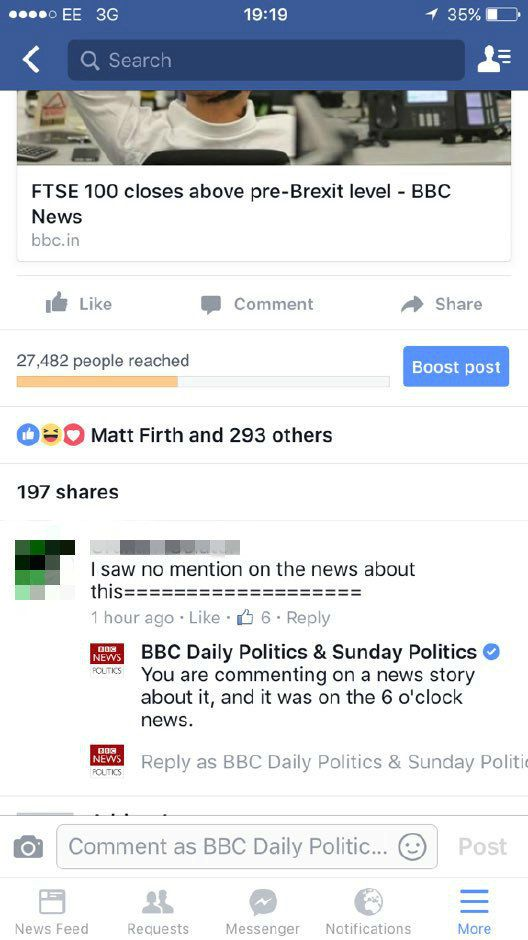 BBC Facebook Commenter Gets Trolled By Corporation's Own