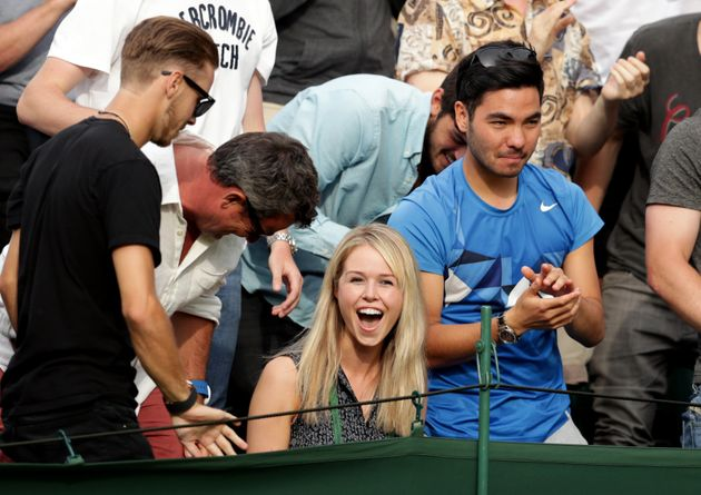 Marcus Willis girlfriend Jenny Bate celebrates his victory over Ricardas Berankis on day One of