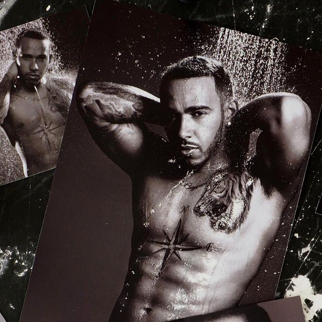 Lewis Hamilton Strips Off To Show Tattoos In L'Oréal