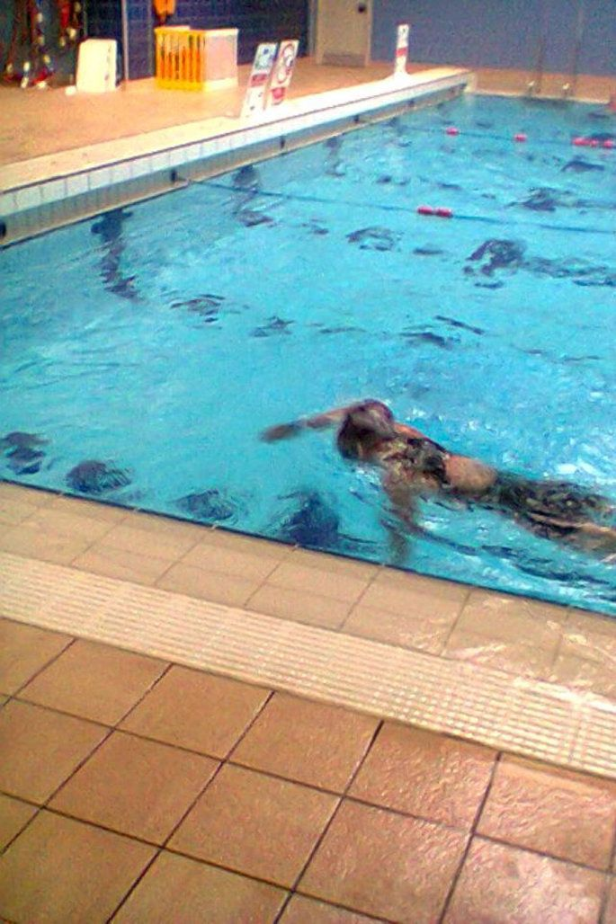 Jane completing the Aspire Challenge Swim Event in 2015.