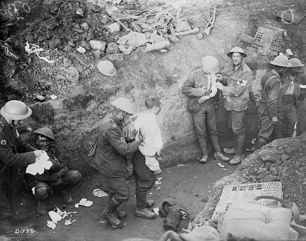 Soldiers in the trenches at the