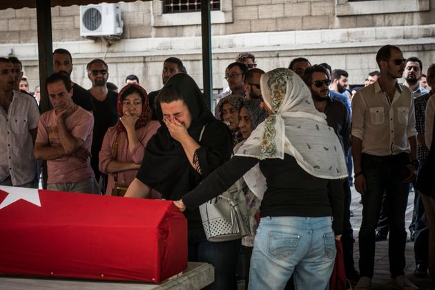 Mourners attend a funeral for Gülsen Bahadur, 29, killed in Tuesday night's attack at Istanbul...