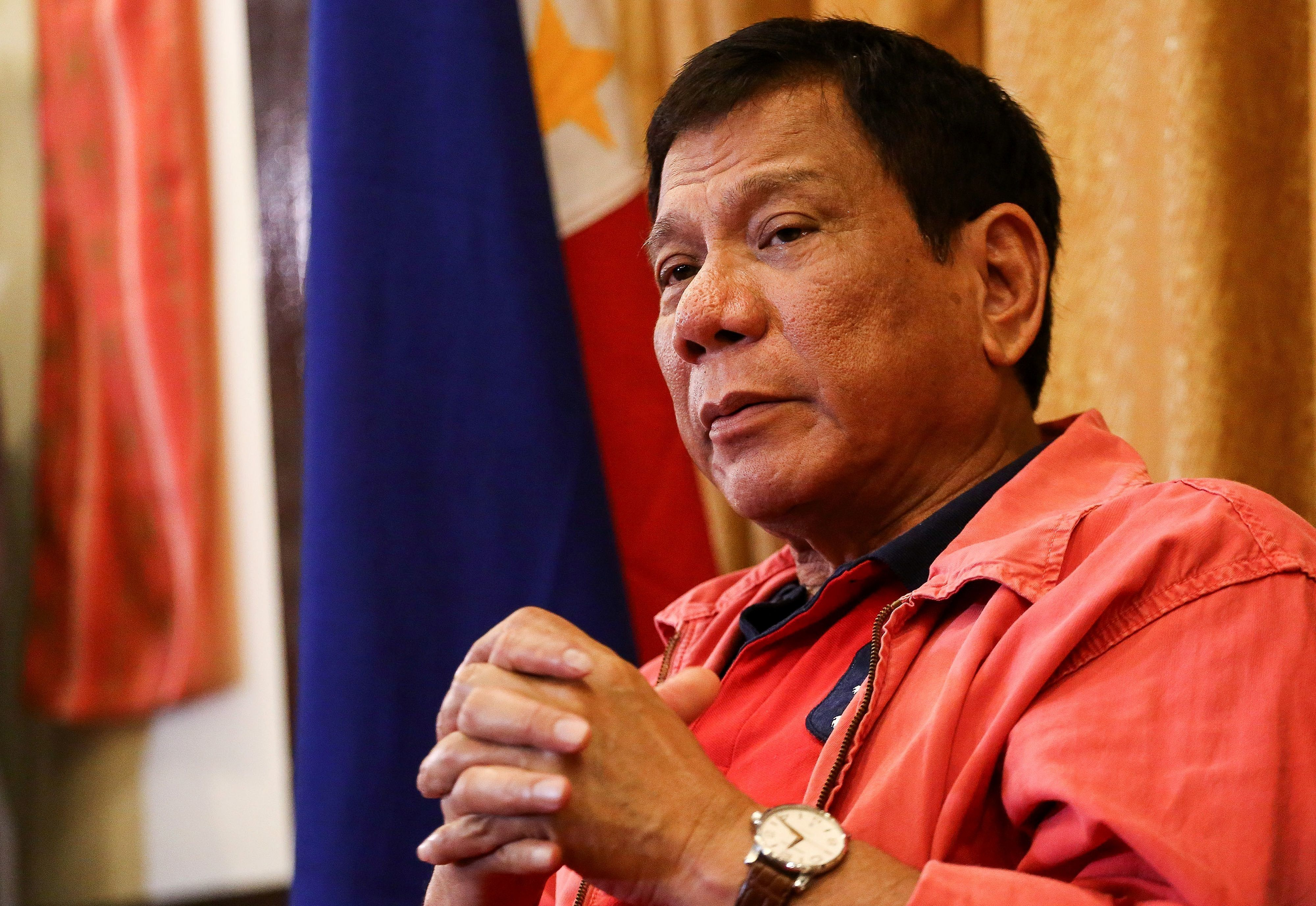 Philippines' president-elect Rodrigo Duterte speaks during a press conference in Davao City, in southern island of Mindanao on May 26, 2016.  Explosive incoming Philippine president Rodrigo Duterte has launched a series of obscenity-filled attacks on the Catholic Church, branding local bishops corrupt 'sons of whores' who are to be blamed for the nation's fast-growing population. / AFP / MANMAN DEJETO        (Photo credit should read MANMAN DEJETO/AFP/Getty Images)
