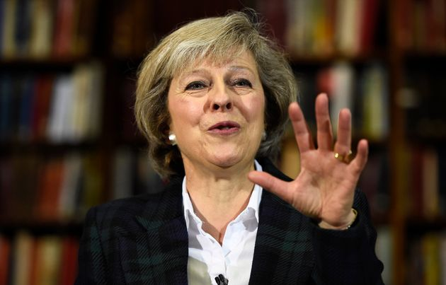 Britain's Home Secretary, Theresa May, delivers a speech at RUSI (Royal United Services Institute) in...