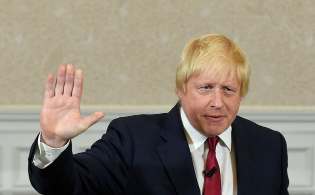 Vote Leave campaign leader, Boris Johnson, waves as he finishes delivering his speech in London, Britain...
