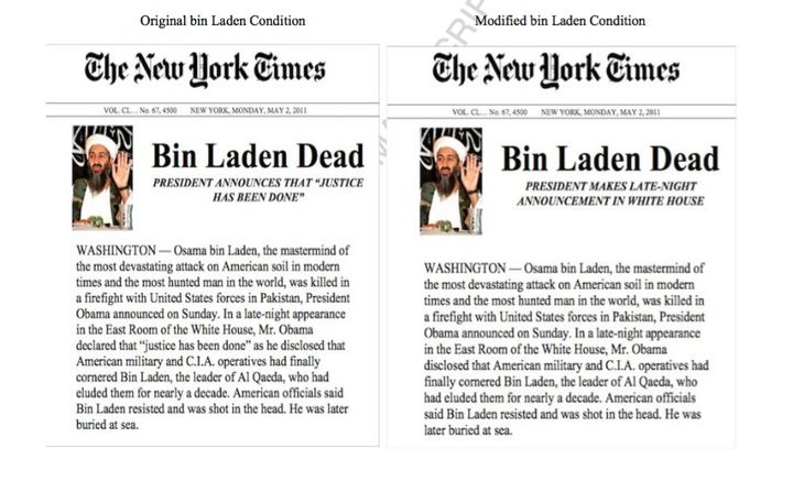 Study volunteers read brief news accounts, including one that described the U.S. forces' killing of Osama bin Laden inr