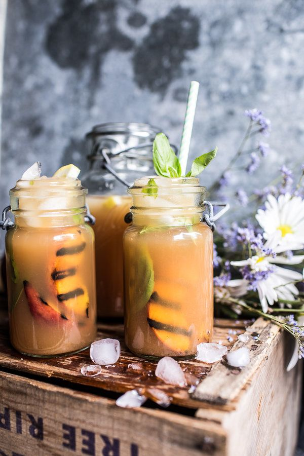 "<strong>Get the <a href=""http://www.halfbakedharvest.com/grilled-peach-and-basil-arnold-palmer-with-or-without-bourbon/"" targ"