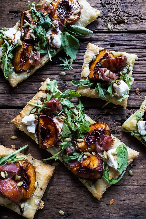 "<strong>Get the <a href=""http://www.halfbakedharvest.com/balsamic-roasted-peach-basil-chicken-and-prosciutto-tarts/"" target="""