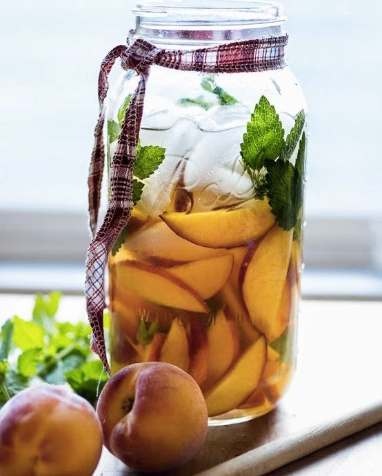 "<strong>Get the <a href=""http://www.feastingathome.com/peach-and-elderflower-sangria/"" target=""_blank"">Peach And Elderflower"