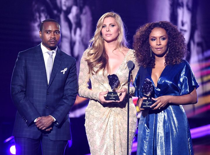 Tiq Milan, Candis Cayne and Janet Mock honor Marsha P. Johnson and Sylvia Rivera at the 2016 Logo Trailblazers Awards.