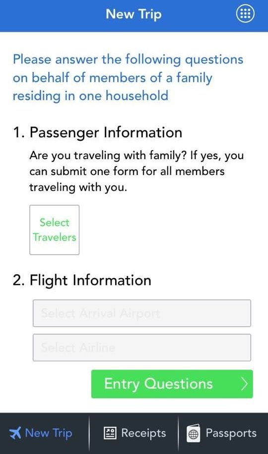 A screenshot from the Mobile Passport app.