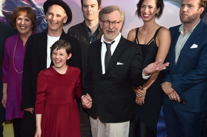 Penelope Wilton, Mark Rylance, Ruby Barnhill, Bill Hader, Steven Spielberg, Rebecca Hall and Rafe Spall arrive on the red car