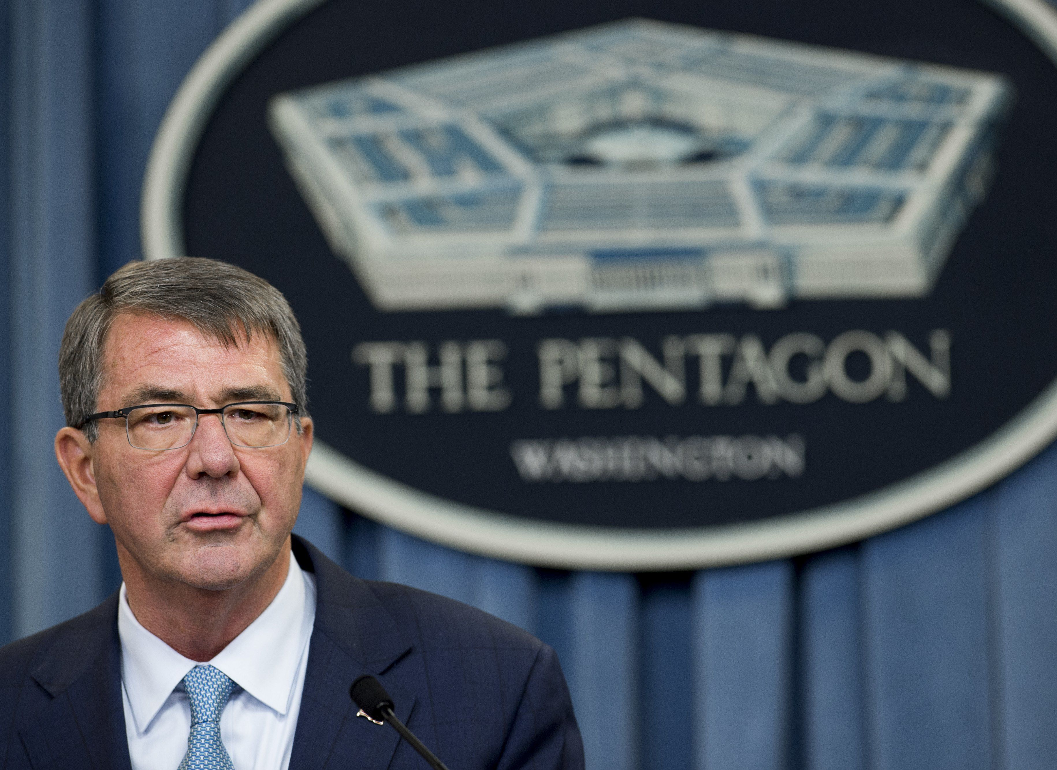 US Secretary of Defense Ashton Carter announces that the military will lift its ban on transgender troops during a press briefing at the Pentagon in Washington, DC, June 30, 2016. 'This is the right thing to do for our people and for the force,' Carter said in a statement. / AFP / SAUL LOEB        (Photo credit should read SAUL LOEB/AFP/Getty Images)