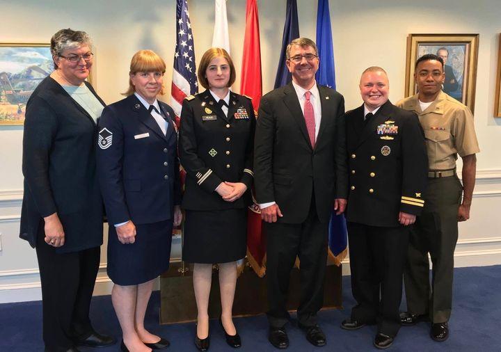TransgenderU.S. service members pose with SPARTA's Sue Fulton (far left) and Secretary of Defense Ash Carter. Carter&nb