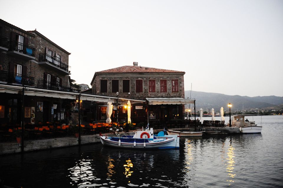 Molyvos at dawn. Rescue ships dock right outside of restaurants and