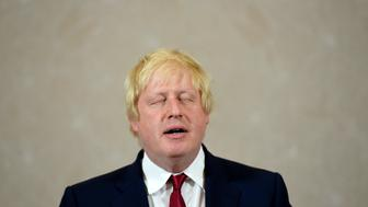Vote Leave campaign leader, Boris Johnson, reacts as he delivers a speech in London, Britain June 30, 2016.      REUTERS/Toby Melville