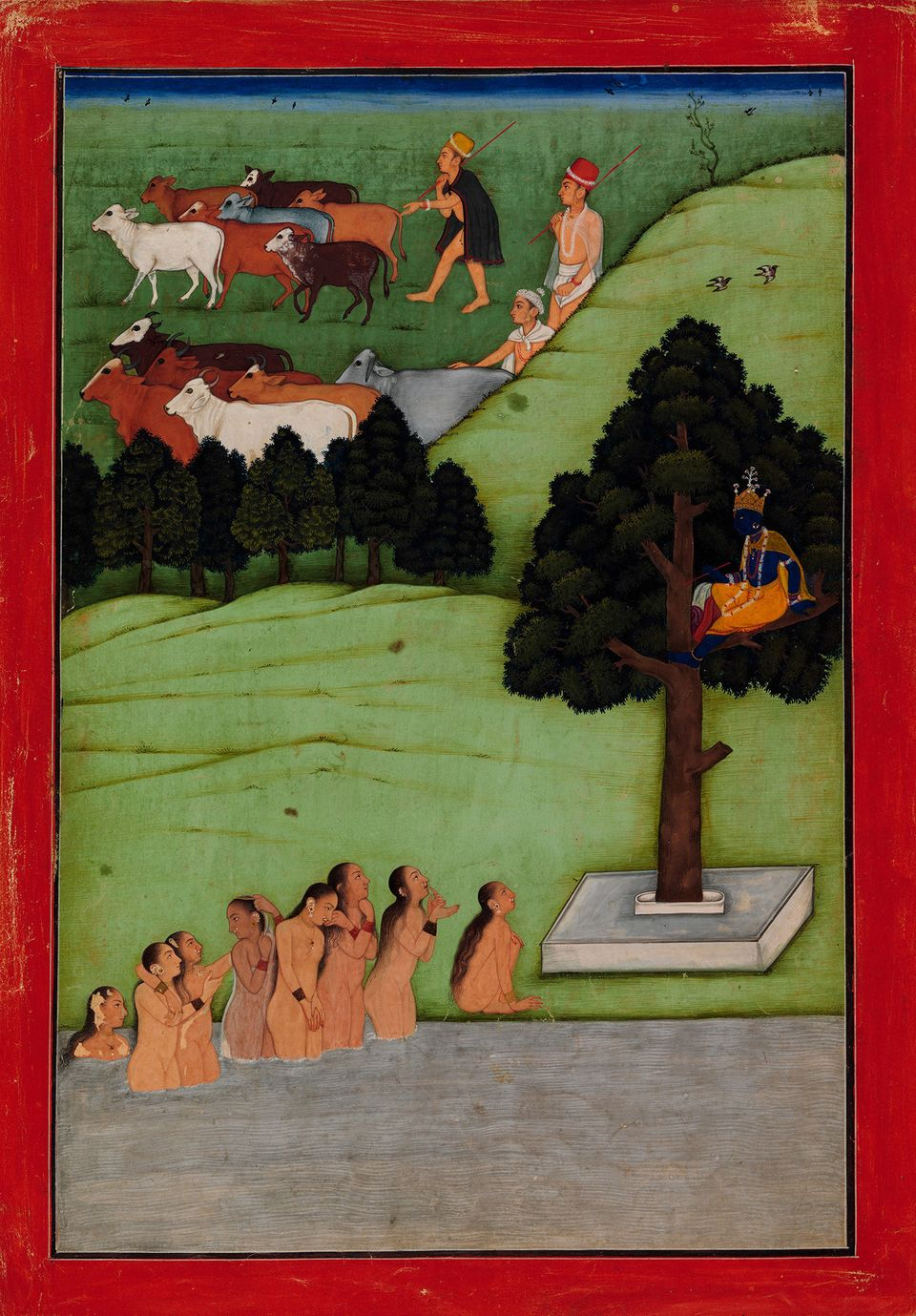 """""""Krishna Steals the Clothing of the Gopis (CowMaidens).""""Attributed to the artist known as the Early Master at&nbs"""