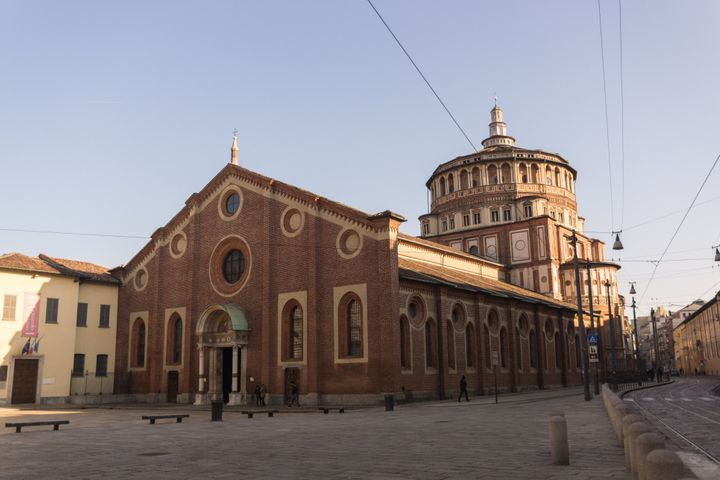 The church of Santa Maria delle Grazie is typical of the late Gothic architecture of Milan. Leonardo da Vinci painted the fam