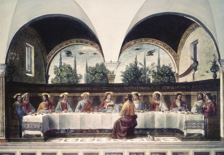 This is another version of the Last Supper, painted by Domenico Ghirlandaio in Florence, Italy, around 1480.
