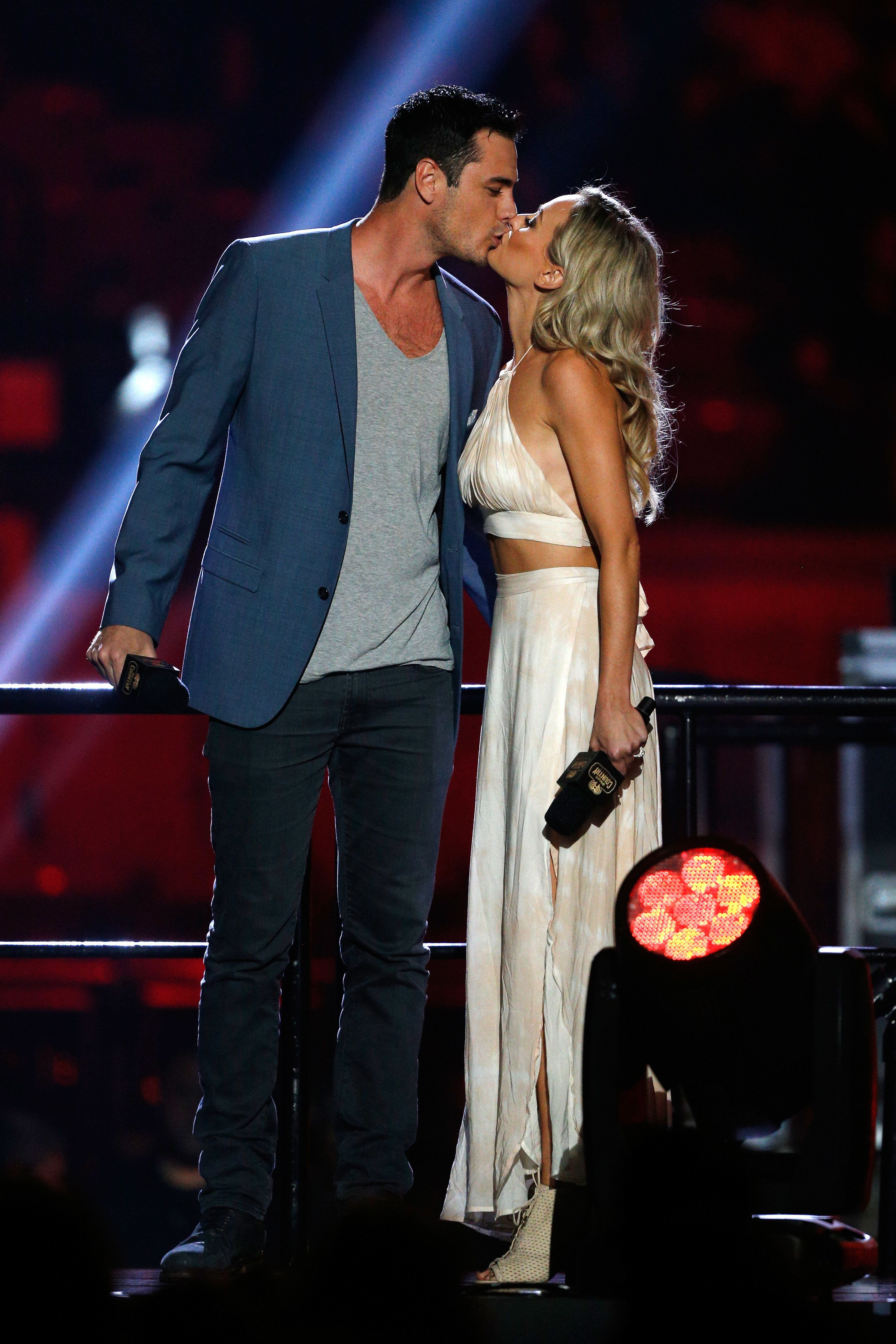 AUSTIN, TX - APRIL 30:  TV personalities Ben Higgins and Lauren Bushnell speak onstage during the 2016 iHeartCountry Festival at The Frank Erwin Center on April 30, 2016 in Austin, Texas.  (Photo by Bob Levey/Getty Images for iHeartMedia)