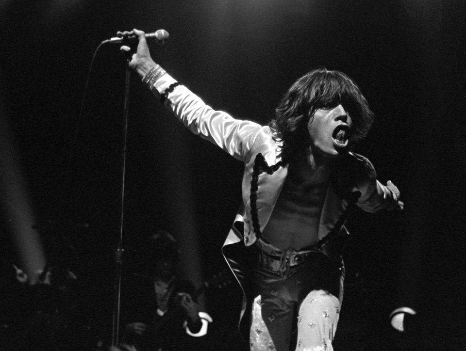 Mick Jagger in performance with the Rolling Stones at Sportpaleis AHOY, Rotterdam, 13th October 1973.