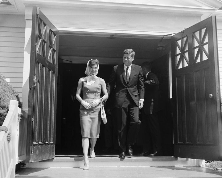 President John F. Kennedy and First Lady Jacqueline Kennedyleave St. Francis Xavier church after attending 10 o'clock M