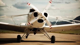 small plane with rotating propeller
