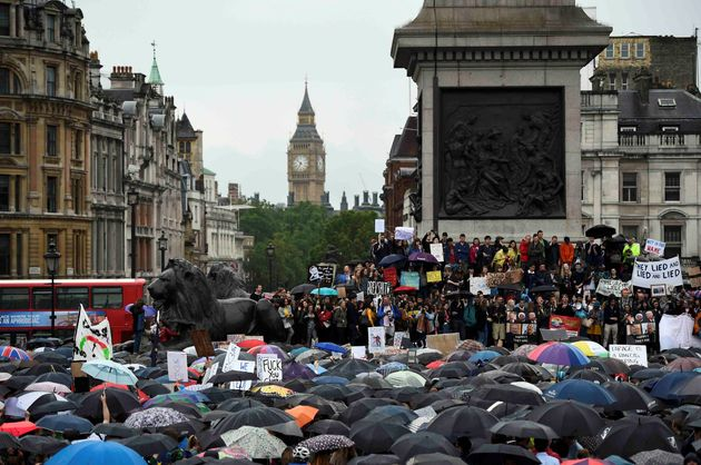 Thousands congregated in Trafalgar Square and outside Parliament earlier this