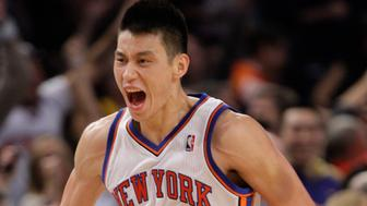 New York Knicks' Jeremy Lin (17) reacts after a making a 3-point basket during the second half of an NBA basketball game against the Los Angeles Lakers Friday, Feb. 10, 2012, in New York. Lin scored 38 points as the Knicks won the game 92-85. (AP Photo/Frank Franklin II)