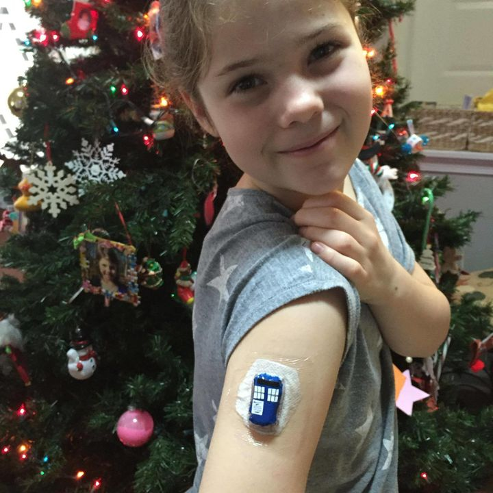 """Claire is a big """"Doctor Who"""" fan and has decoratedher CGM to make it look like a Tardis."""