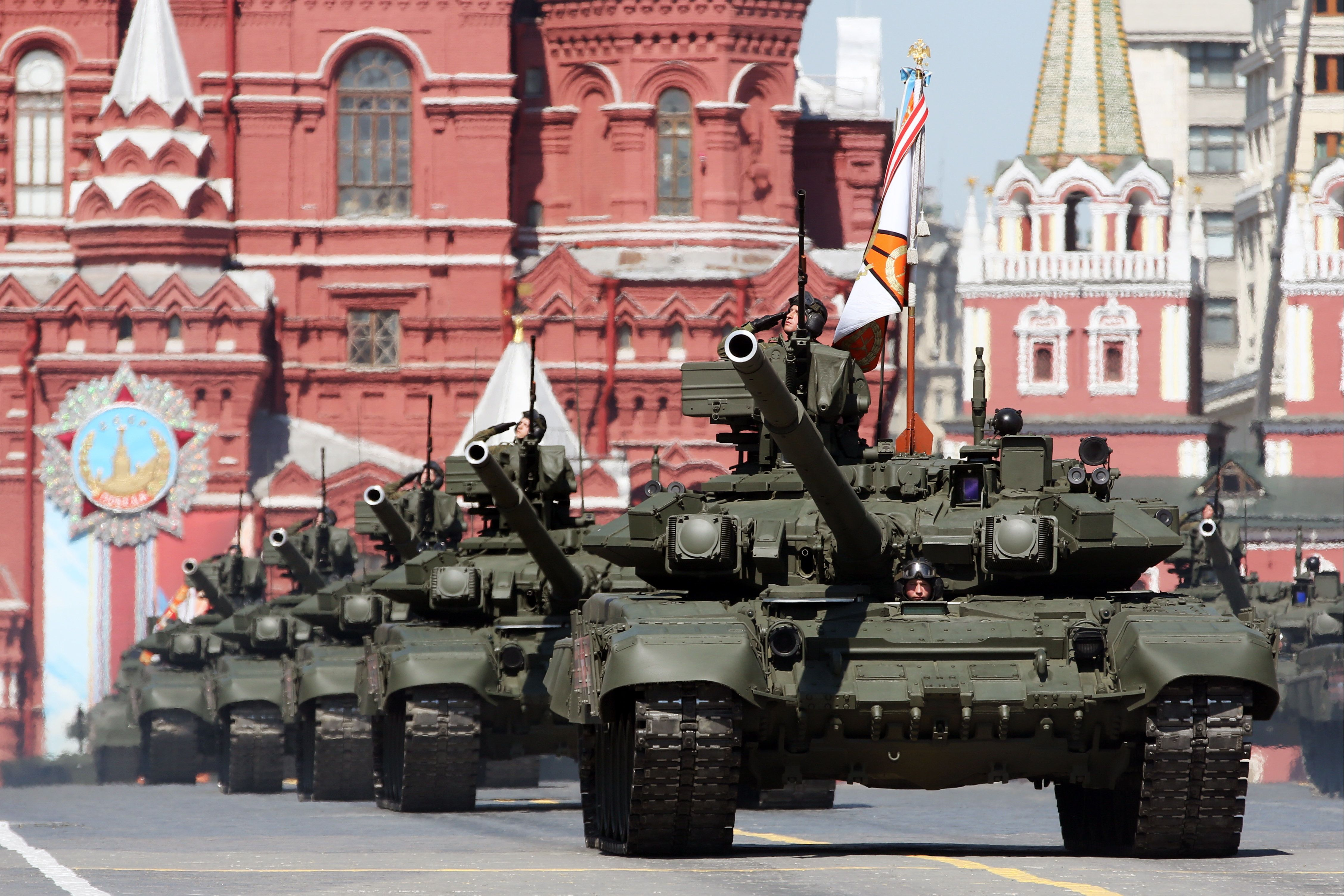 Russian T-90A tanks roll through Moscow's Red Square during a Victory Day parade in May, marking the...